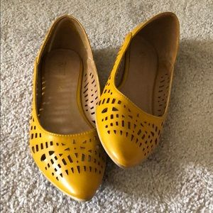 Restricted Mustard Yellow Cutout Flats